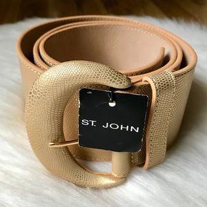 St. John Lizard Leather Wide Belt